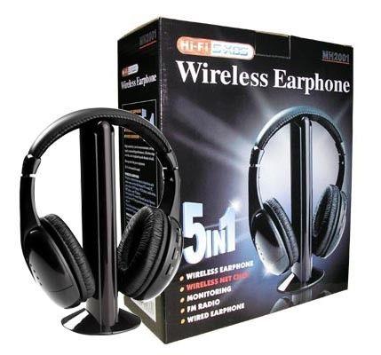 5 IN 1 WIRELESS HEADPHONES FOR FM, MP3, TV, CD/DVD, PC, AUDIO, GAMING ETC.. – BRAND NEW