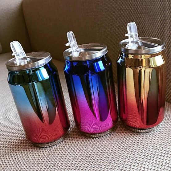 300ML STAINLESS STEEL CAN CUP WITH STRAW