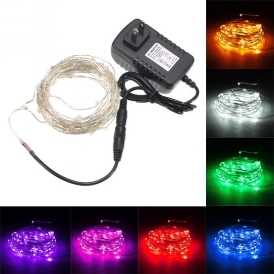 10M 100 LED SILVER WIRE WATERPROOF FAIRY STRING LIGHT XMAS LAMP WITH ADAPTER
