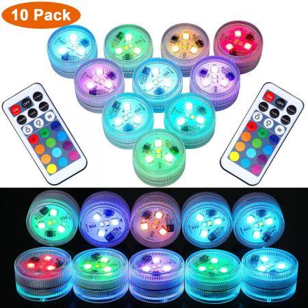 10PC UNDERWATER LED TEA LIGHTS, SUBMERSIBLE RGB MULTICOLOR WATERPROOF DECOR LIGHTS